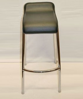 Black Leather Cocktail Bar Chair 75 x 35 cm CC003