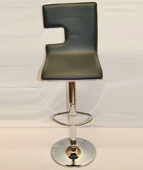 Black Leather Square Cocktail Chair 80 x 45 cm CC008