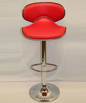 Red Leather Curve Shape Cocktail Chair 80 x 50 cm CC006