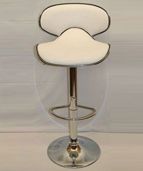 White Leather Curve Shape Cocktail Chair 80 x 45 cm CC005