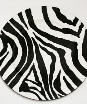 Zebra Print Black & White Under Plate 33 cm BP017