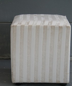 Cream Striped Square Ottoman 086