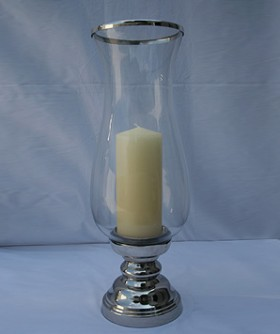 Medium Hurricane Lamp On Silver Foot Stand 62 x 20 cm CL097