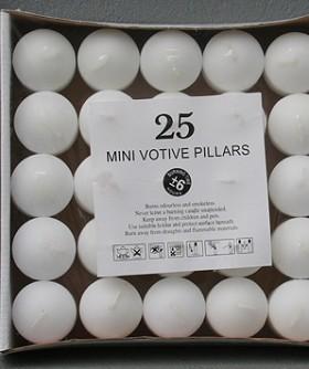 Mini Votive Pillars 38 x 38 mm 25 pkt 6 hrs 6531