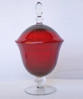 Red Candy Holder With Lid 26 cm MR006