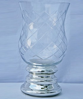 Small Foiled Hurricane Lamp 13 x 22 cm CL092