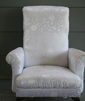 White Damask Polar Wingback Chair 069