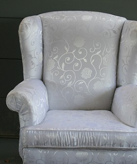 White Damask Polar Wingback Chair 072