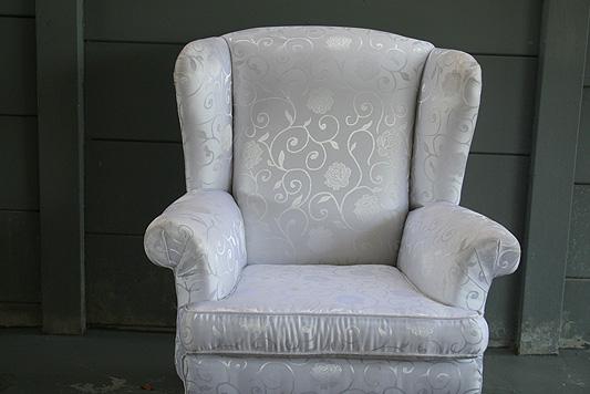 White Damask Polar Wingback Chair 072