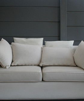 White Leather 2 Seater Couch 084