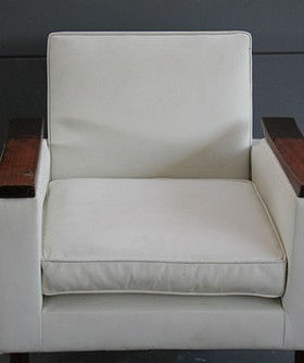 White Leather Art Deco Chair 067