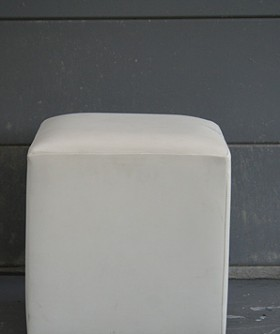 White Leather Square Ottoman 088