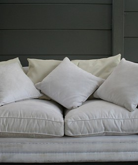 White Suede 2 Seater Couch 085